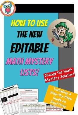 How to use the new editable Math Mystery Lists